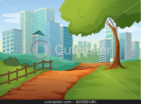 A pathway going to the tall buildings stock vector clipart, Illustration of a pathway going to the tall buildings by Matthew Cole