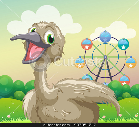 An ostrich in front of the ferris wheel stock vector clipart, Illustration of an ostrich in front of the ferris wheel by Matthew Cole