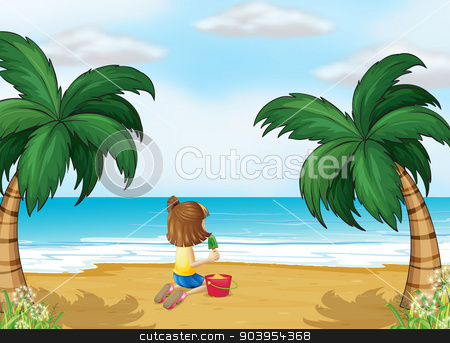 A little girl playing at the beach alone stock vector clipart, Illustration of a little girl playing at the beach alone by Matthew Cole