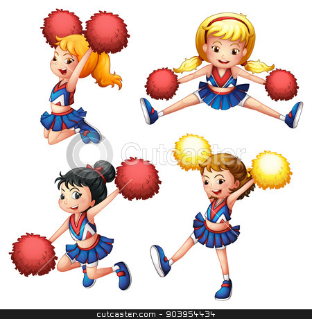 Four cheerdancers with their pompoms stock vector clipart, Illustration of the four cheerdancers with their pompoms on a white background by Matthew Cole