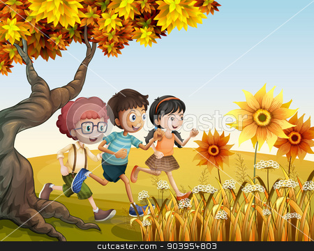 Children running at the hill with sunflowers stock vector clipart, Illustration of the children running at the hill with sunflowers by Matthew Cole