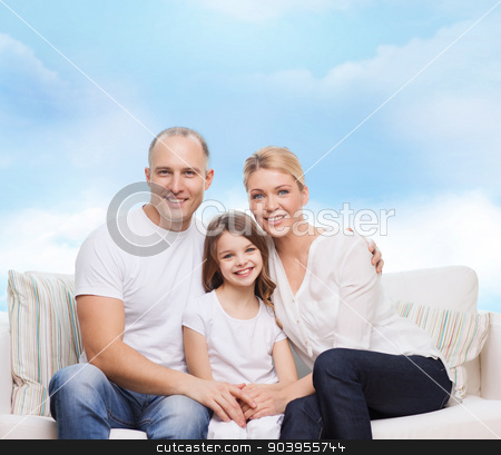 happy family at home stock photo, family, childhood and people concept - smiling mother, father and little girl over blue sky background by Syda Productions