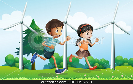 A girl and a boy running in the hill with windmills stock vector clipart, Illustration of a girl and a boy running in the hill with windmills by Matthew Cole