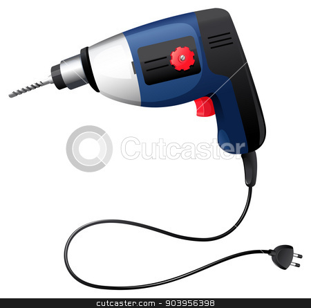 A hammer drill stock vector clipart, Illustration of a hammer drill on a white background by Matthew Cole