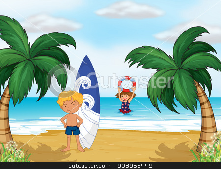 Kids enjoying summer at the beach stock vector clipart, Illustration of the kids enjoying summer at the beach by Matthew Cole