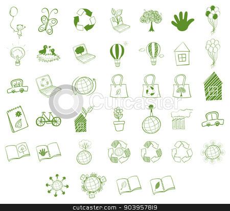 Different eco-friendly objects stock vector clipart, Illustration of the different eco-friendly objects on a white background  by Matthew Cole