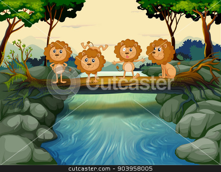 Four young lions at the river stock vector clipart, Illustration of the four young lions at the river by Matthew Cole