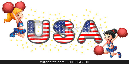 The USA cheerdancers stock vector clipart, Illustration of the USA cheerdancers on a white background by Matthew Cole