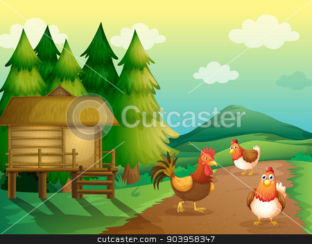 A farm with chickens and a native house stock vector clipart, Illustration of a farm with chickens and a native house by Matthew Cole