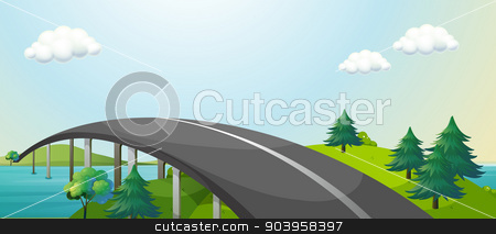 A curve road connecting two mountains stock vector clipart, Illustration of a curve road connecting two mountains by Matthew Cole