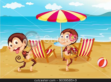 A beach with two monkeys stock vector clipart, Illustration of a beach with two monkeys by Matthew Cole
