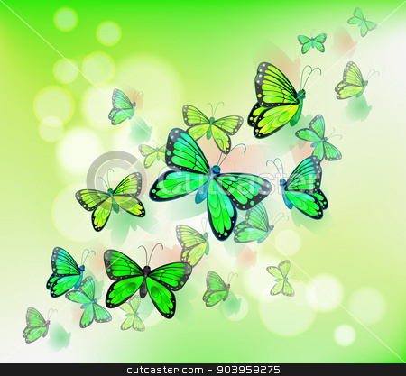 A group of green butterflies stock vector clipart, Illustration of the group of green butterflies by Matthew Cole