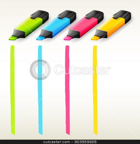 Colorful highlighters stock vector clipart, Illustration of the colorful highlighters on a white background by Matthew Cole