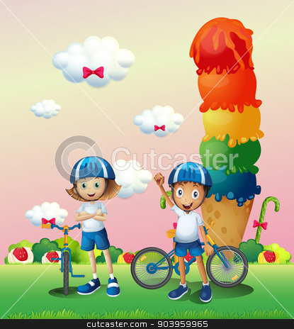 Two teenagers in a land full of sweets stock vector clipart, Illustration of the two teenagers in a land full of sweets by Matthew Cole
