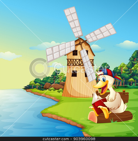 A duck reading a book near the windmill stock vector clipart, Illustration of a duck reading a book near the windmill by Matthew Cole