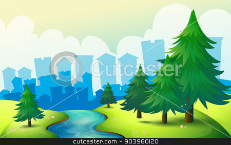 A flowing river at the hill with pine trees stock vector clipart, Illustration of a flowing river at the hill with pine trees by Matthew Cole