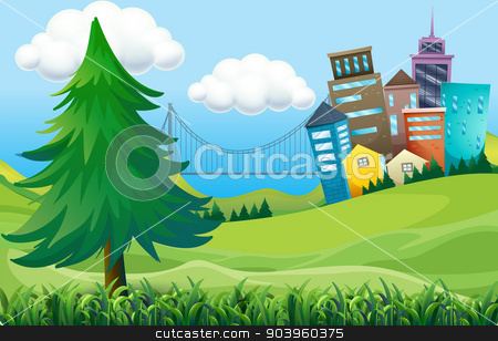 Hills with buildings stock vector clipart, Illustration of the hills with buildings by Matthew Cole