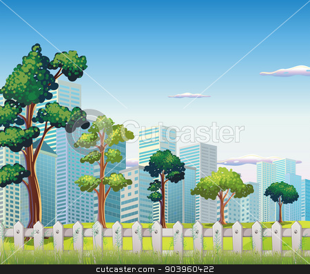 Trees inside the fence near the tall buildings stock vector clipart, Illustration of the trees inside the fence near the tall buildings by Matthew Cole