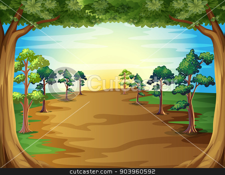 Growing trees at the forest stock vector clipart, Illustration of the growing trees at the forest by Matthew Cole