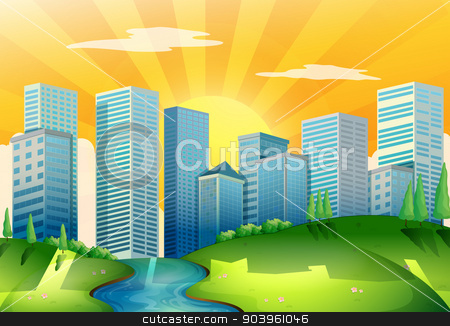 A river near the tall buildings stock vector clipart, Illustration of a river near the tall buildings by Matthew Cole