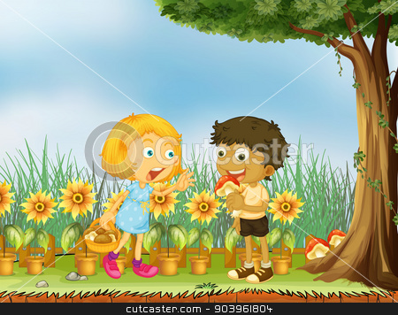 A girl stopping a boy from eating a mushroom stock vector clipart, Illustration of a girl stopping a boy from eating a mushroom by Matthew Cole