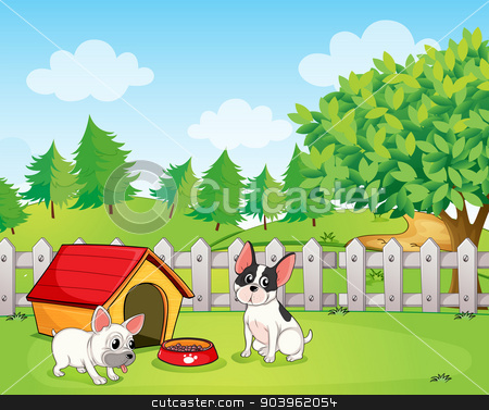 A backyard with two dogs stock vector clipart, Illustration of a backyard with two dogs by Matthew Cole