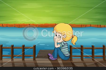 A little girl at the bridge stock vector clipart, Illustration of a little girl at the bridge by Matthew Cole
