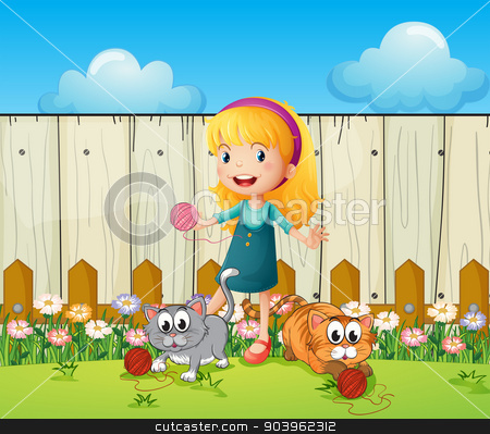 A girl playing with her cats inside the fence stock vector clipart, Illustration of a girl playing with her cats inside the fence by Matthew Cole