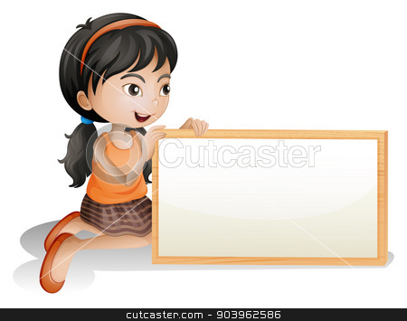 A little girl holding a blank signboard stock vector clipart, Illustration of a little girl holding a blank signboard on a white background by Matthew Cole
