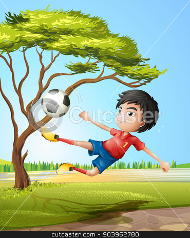 A boy playing soccer at the road stock vector clipart, Illustration of a boy playing soccer at the road by Matthew Cole