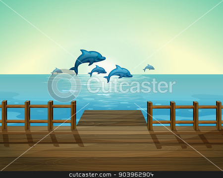 Six dolphins diving stock vector clipart, Illustration of the six dolphins diving by Matthew Cole