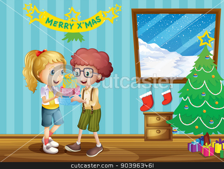 Two adorable kids exchanging their christmas gifts stock vector clipart, Illustration of the two adorable kids exchanging their christmas gifts by Matthew Cole