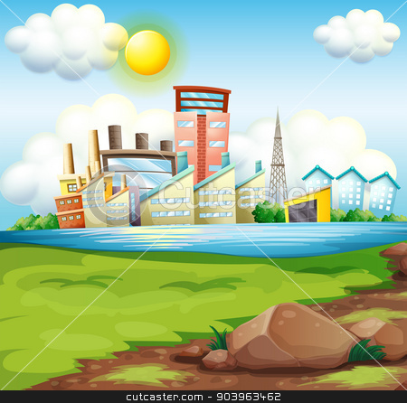Factories near the river stock vector clipart, Illustration of the factories near the river by Matthew Cole