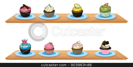 Eight cupcakes at the wooden shelves stock vector clipart, Illustration of eight cupcakes at the wooden shelves on a white background by Matthew Cole