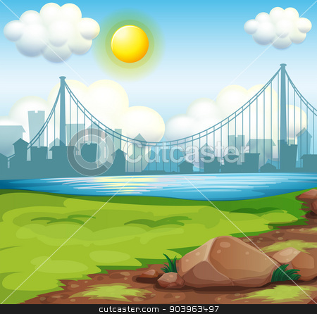 A view of the river near the tall buildings under the bright sun stock vector clipart, Illustration of a view of the river near the tall buildings under the bright sun by Matthew Cole