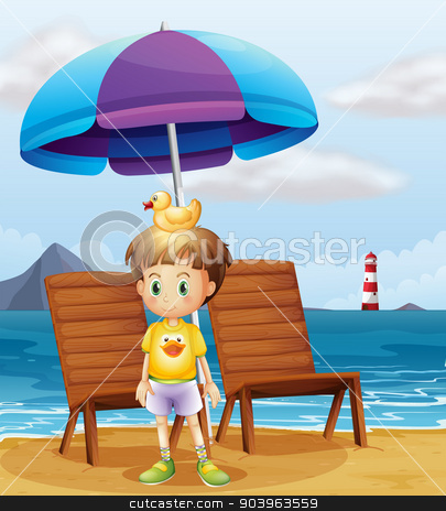 A boy with a rubber duck at the beach stock vector clipart, Illustration of a boy with a rubber duck at the beach by Matthew Cole