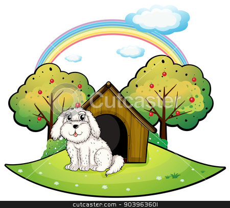 A puppy near an apple tree stock vector clipart, Illustration of a puppy near an apple tree on a white background by Matthew Cole