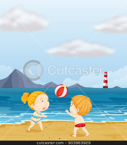 A girl and a boy playing volleyball at the beach stock vector clipart, Illustration of a girl and a boy playing volleyball at the beach by Matthew Cole