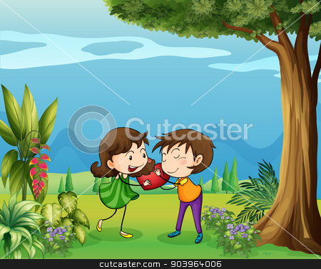 The two lovers in the forest stock vector clipart, Illustration of the two lovers in the forest by Matthew Cole
