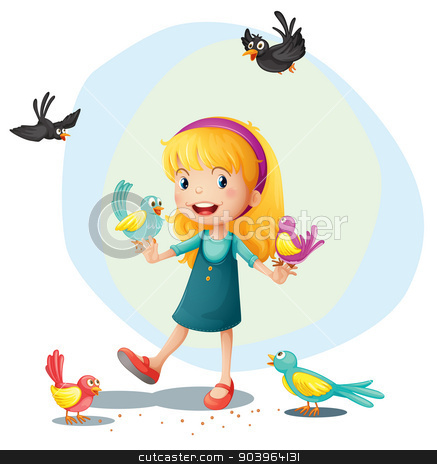 A girl playing with the birds stock vector clipart, Illustration of a girl playing with the birds on a white background by Matthew Cole