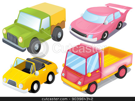 Four different kinds of cars stock vector clipart, Illustration of the four different kinds of cars on a white background by Matthew Cole