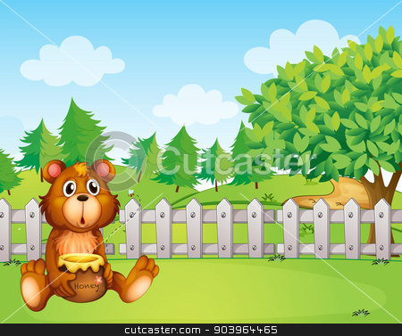 A bear holding a honey at the backyard stock vector clipart, Illustration of a bear holding a honey at the backyard by Matthew Cole
