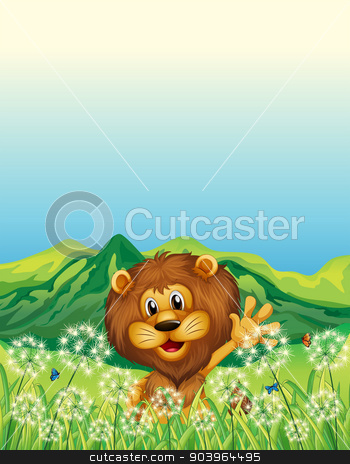 A lion waving his hand near the weeds stock vector clipart, Illustration of a lion waving his hand near the weeds by Matthew Cole