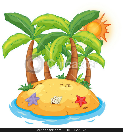 An island with coconut trees stock vector clipart, Illustration of an island with coconut trees on a white background  by Matthew Cole