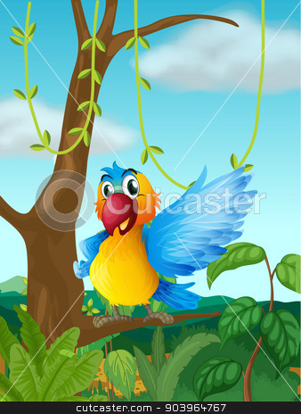 A parrot at a branch of a big tree stock vector clipart, Illustration of a parrot at a branch of a big tree by Matthew Cole
