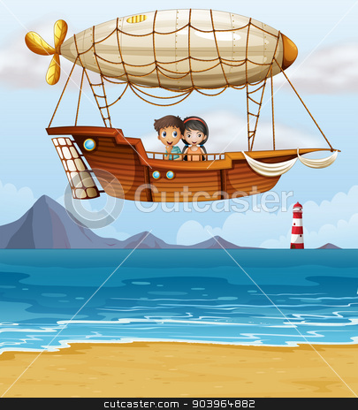 A boy and a girl riding an airship stock vector clipart, Illustration of a boy and a girl riding an airship by Matthew Cole
