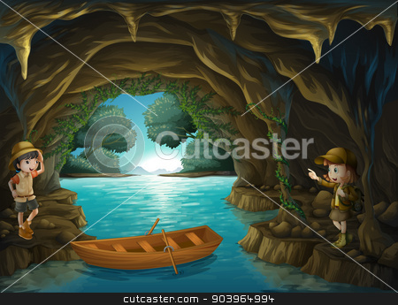 Young explorers inside the cave stock vector clipart, Illustration of the young explorers inside the cave by Matthew Cole