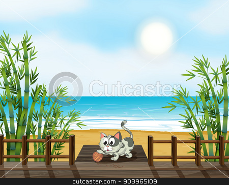 A cat playing at the wooden bridge stock vector clipart, Illustation of a cat playing at the wooden bridge by Matthew Cole