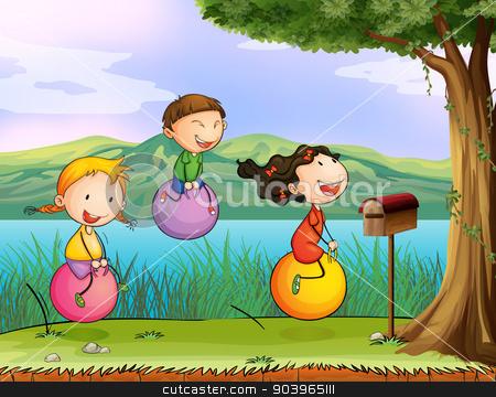 Kids playing near a wooden mailbox stock vector clipart, Illustration of kids playing near a wooden mailbox by Matthew Cole