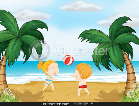 Kids playing ball stock vector clipart, Illustration of kids playing ball on a beach by Matthew Cole